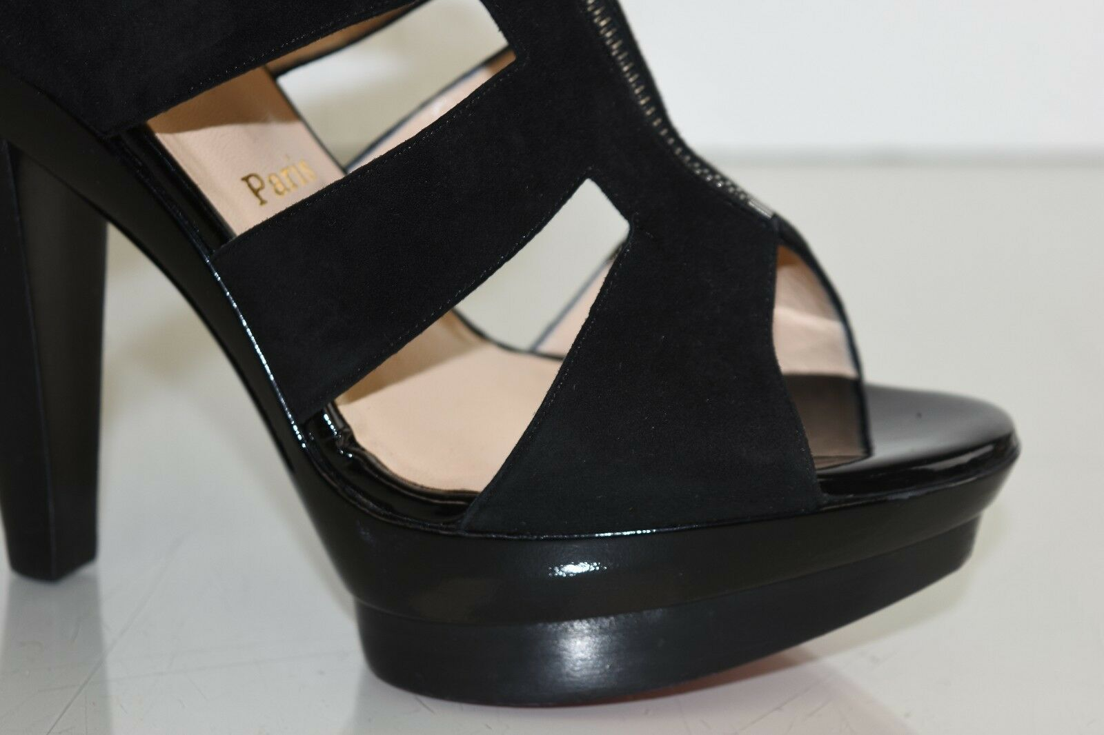 NEW Christian Louboutin ZIPETTE Suede Black Black Black Patent Platform Cut Out shoes 42 d83d46