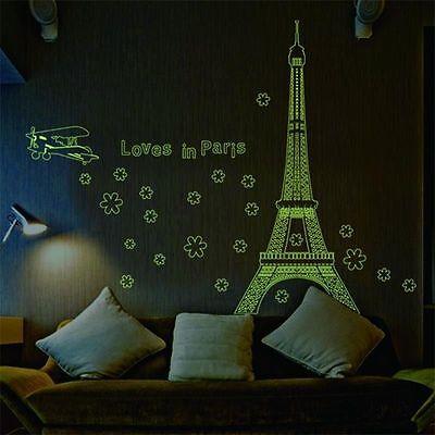 Paris Eiffel Tower Night Fluorescent Wall Sticker Mural Vinyl Decal Home Decor