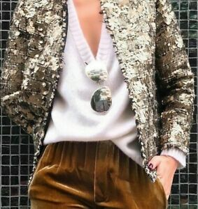 ZARA-Sequin-Tweed-Boucle-Jacket-Blazer-Gold-Black-White-Sz-XS