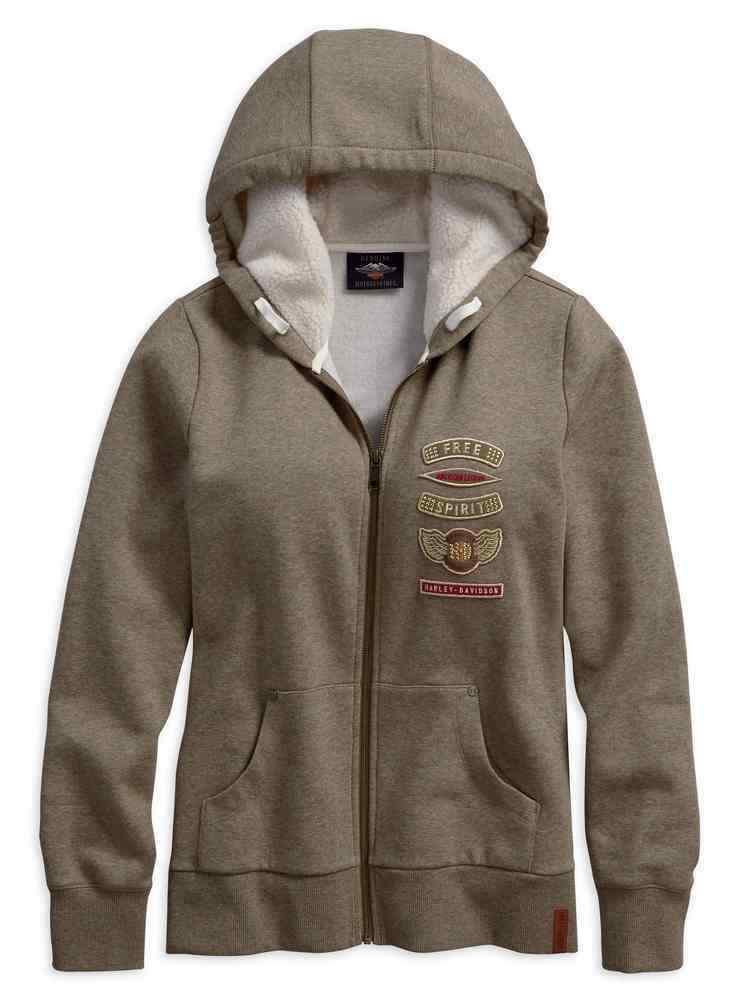 HARLEY-DAVIDSON Ladies Fur Hoody Hoodie Jumper Sweater Sweatshirt Fleece Zip-up