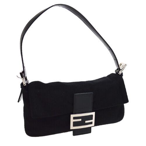 FENDI Mamma Baguette Hand Bag Purse Black Wool Lea