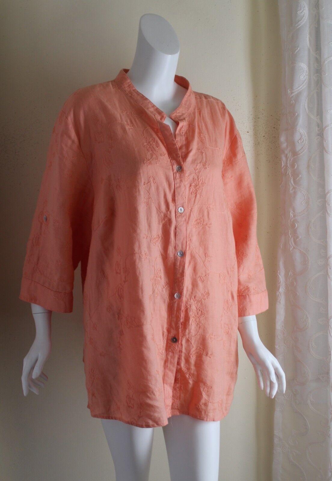 Lucy & LAUREL - 3X 2X 100% lin Peach exquis tout brodé Artsy shirt Top