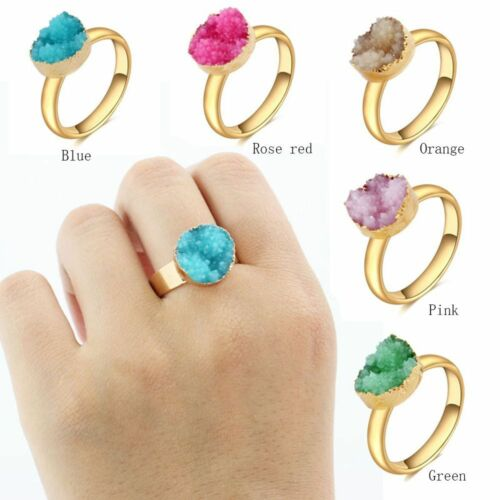 Women Gold Plated Natural Druzy Jewelry Finger Adjustable Stone Ring Crystal