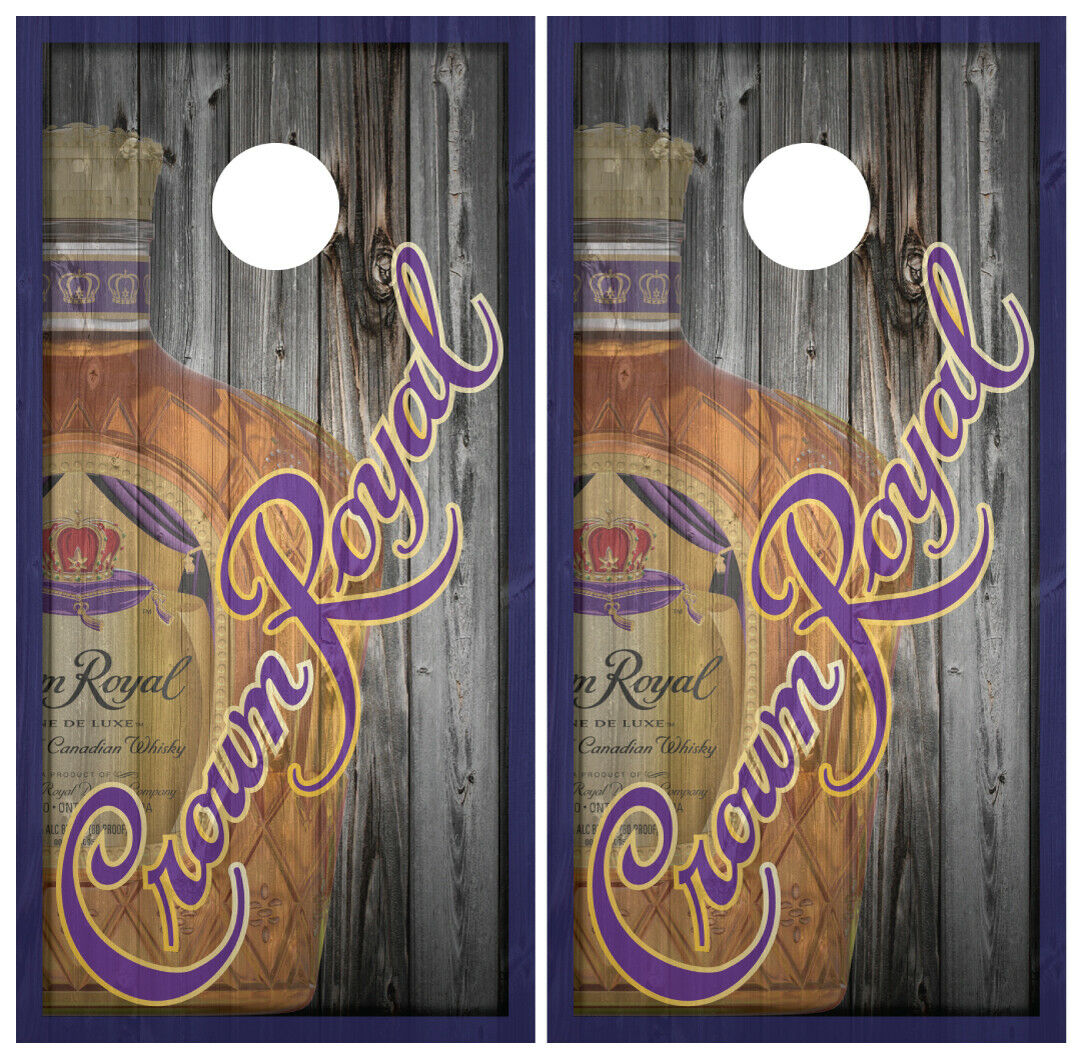 Crown  Royal Bottle Wood Cornhole Board Wraps Skins Vinyl Laminated HIGH QUALITY   all products get up to 34% off