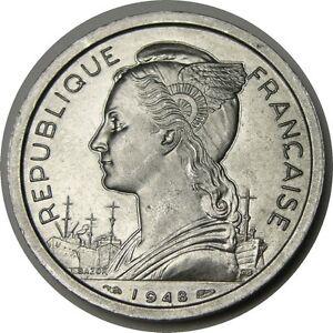 Reunion 1948 2 Francs KM 8 aluminum Uncirculated
