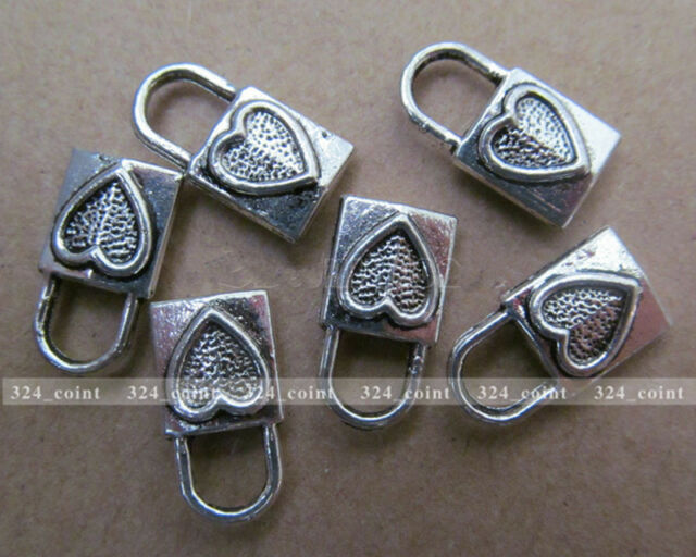 P071 15pcs Tibetan Silver Charm Double-sided Love lock Accessories Wholesale