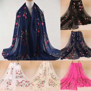 Women-Chiffon-Long-Scarf-Muslim-Embroidery-Hijab-Arab-Wrap-Shawl-Headwear-SALE