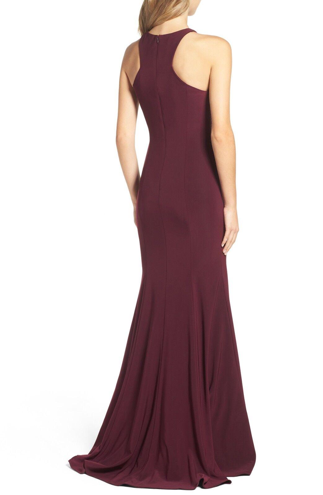 NEW XSCAPE Jersey Cutout Bodice Bodice Bodice GOWN DRESS SIZE 10  228 WINE NORDSTROM cb3109