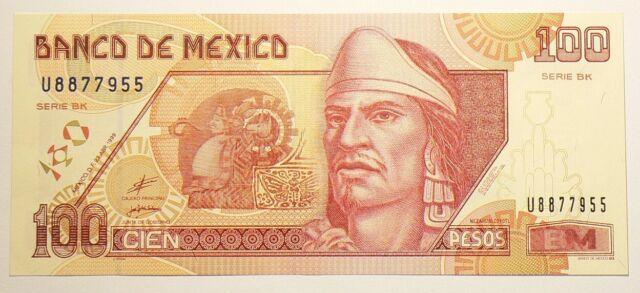 1999 Mexico 100 Pesos Serie BK aUNC P108c #10328