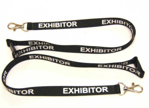 Free UK post. EXHIBITOR lanyard black 15mm with safety breakaway for ID /& keys