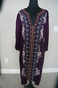 NEW-Johnny-Was-3J-Workshop-BOHO-Embroidered-Plum-Short-Kaftan-Tunic-Dress-S