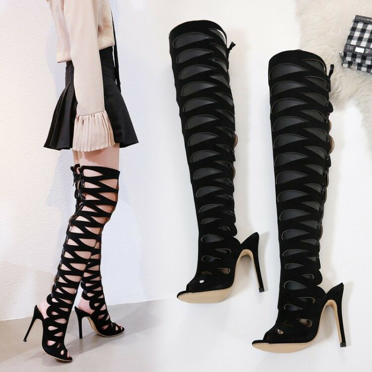 Women's Hollow Thigh-High Boots High Heels Pointed Toe Stilettos Clubwear shoes