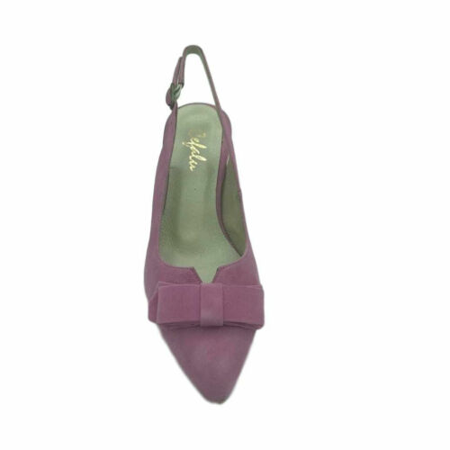 Cefalu Ladies Womens Mid Heel Slip On Slingback Bow Smart Casual Court Shoes