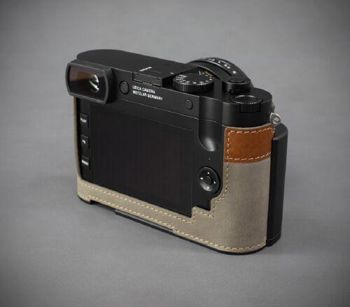 Cámara De Cuero Genuino LIM/'s medio caso cola de milano Placa Para Leica Q2 Gris//Marrón