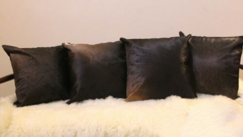 Exotic Brown Black Cowhide Cushion Covers Set of 4 Pure Cow Skin 16x16 in Pillow