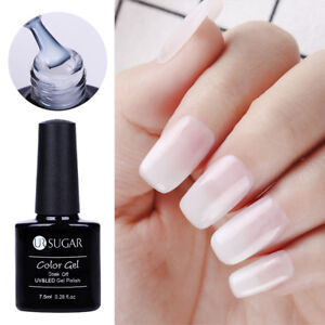 7-5ml-UR-SUGAR-2-Pcs-Opal-Gelee-Soak-Off-Nagel-UV-Gel-Polish-Weiss-Nagel-Tipps