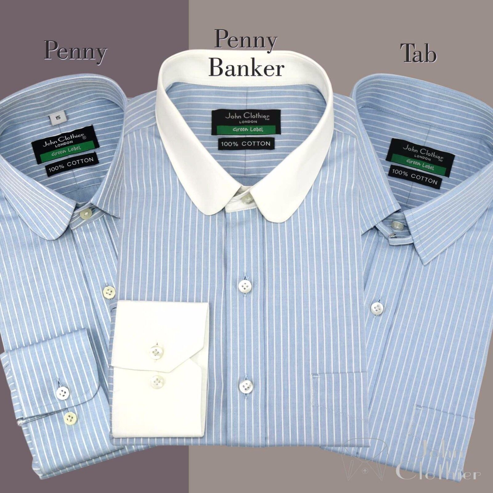 Penny collar Tab collar Soft Cotton Shirts for Men Sky Blau stripes French Cuffs