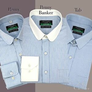 Penny-Tab-collar-Cotton-Shirt-Men-Sky-Blue-stripes-French-Cuff-Peaky-Blinders
