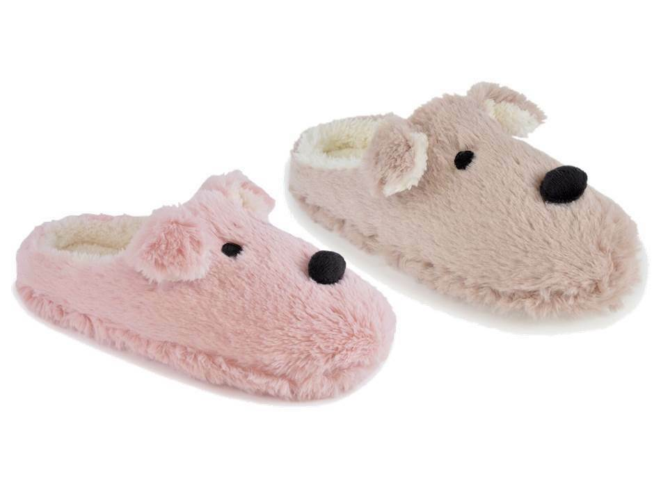 Ladies Super Soft Faux Fur Cute Dog Fleece Lined Mule Slippers In 3 UK Sizes