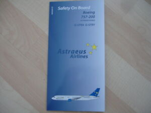 Astraeus Airlines Boeing 757-200 safety card