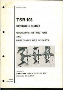 RANSOMES PLOUGH TSR108 OPERATORS MANUAL - TSR 108