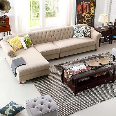 Morden Chesterfield Tufted Couch Left Chaise Lounge Sectional Button ...