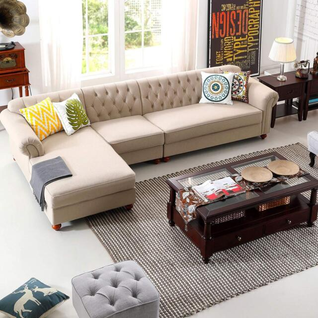 Pleasing Morden Chesterfield Tufted Couch Left Chaise Lounge Sectional Button Sofa Set Creativecarmelina Interior Chair Design Creativecarmelinacom