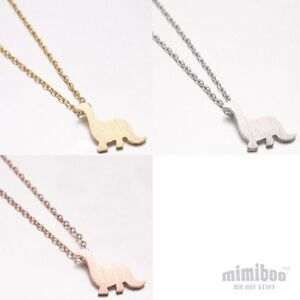 Hand Touched Textured Matt Tone Cute Dinosaur Shaped Pendant With Necklace