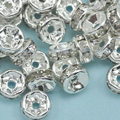 Wholesale 100pcs Crystal Rhinestone Rondelle Spacer Beads Size 4mm 6mm 8mm 10mm