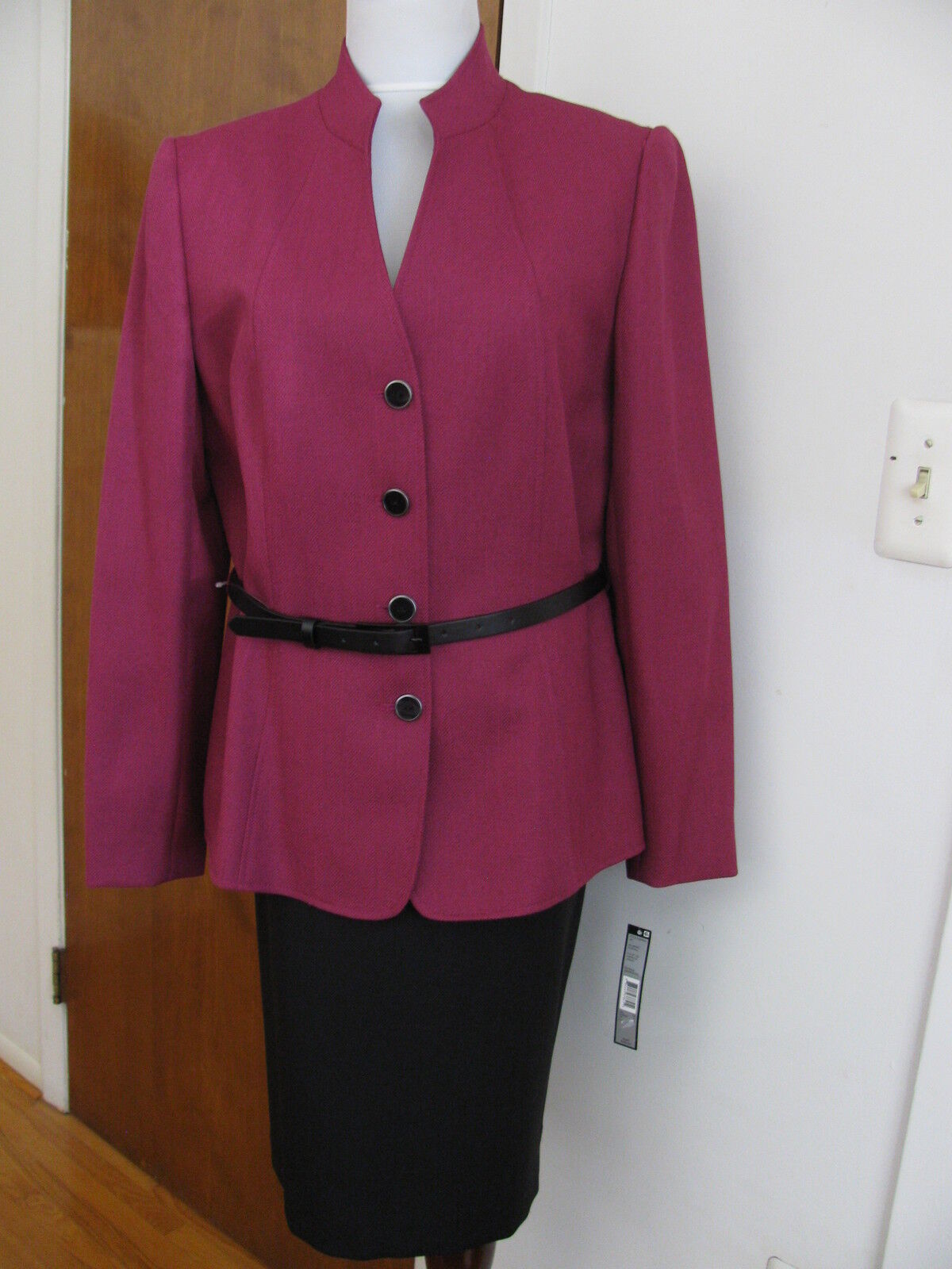 Tahari Asl Women's Purple Belted 2 Piece Skirt Suit Size 12 NWT