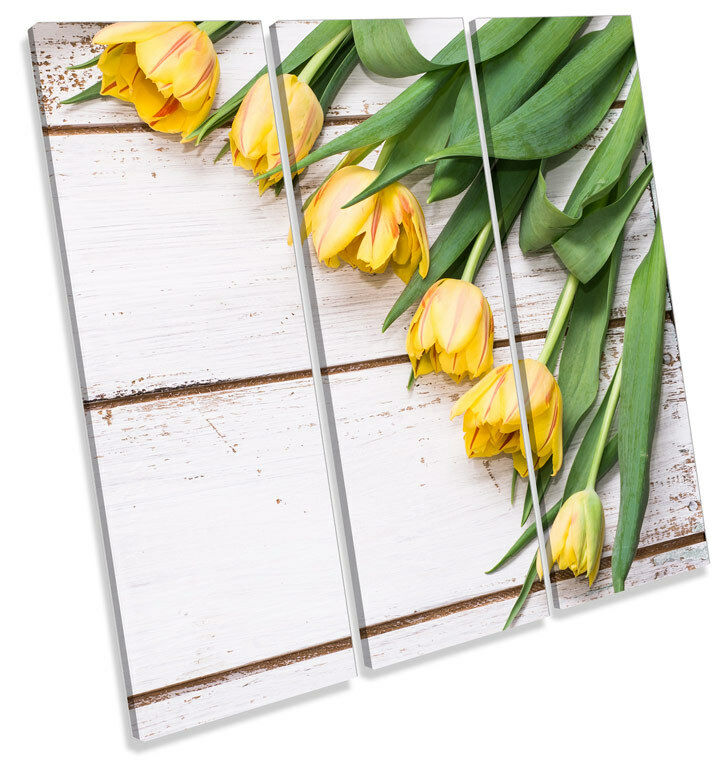 Tulip Flowers on Floorboards TREBLE CANVAS WALL ART Square Print Picture