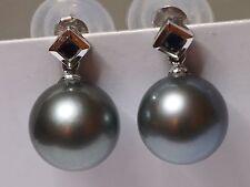 Perlas Tahitianas no tratados raras y Zafiro 14K Blanco Pendientes De Oro