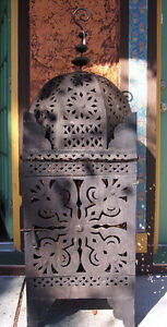 Image Is Loading Moroccan Lantern Wrought Cast Iron Lamp Candle Holder