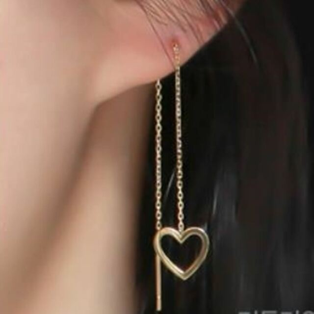 14K Solid Yellow Gold Lovely Line Long Threader Drop Dangle a Pair Earrings TPD