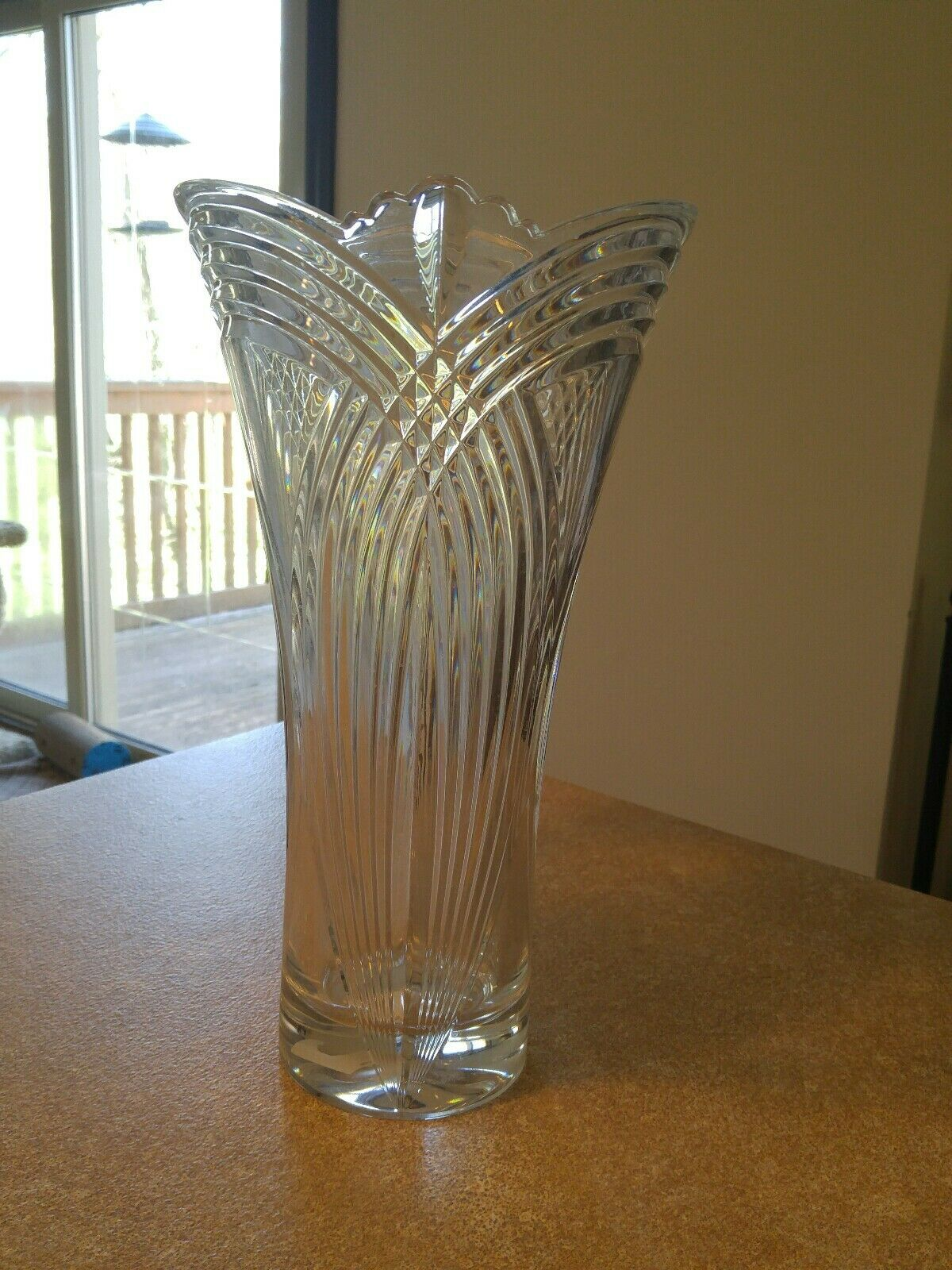 Bohemian Crystal Clear Regent 14 Tall Flair Shape Vase Made In Czech Republic For Sale Online