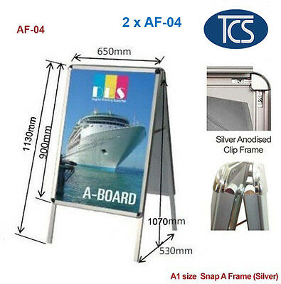 2 xClip A1 size Double Snap A Frame A Board Display Sign Poster Stand 32mm frame
