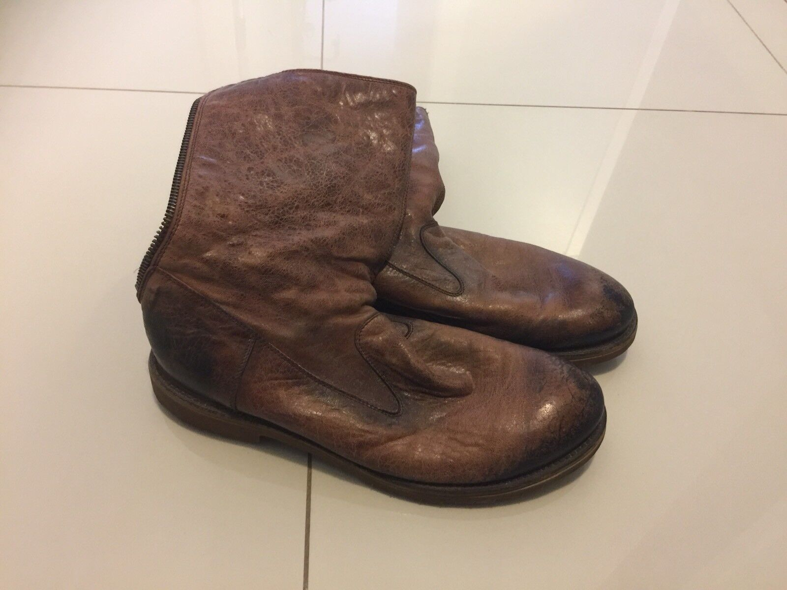 84073fafb8cc Hugo Boss Mens Brown Leather Winter Boots Size Size Size 13 EUR 46 Full Zip  d024da ...