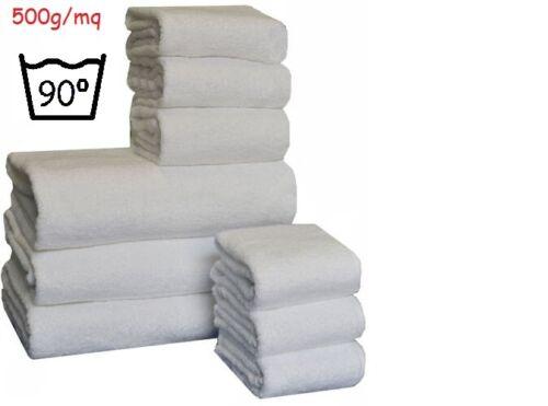Set asciugamani bianchi in spugna hotel b/&b spa Completo tre asciugamani bagno