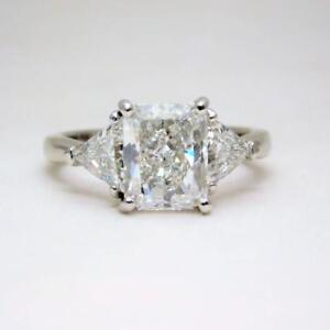Details About Cushion Cut Diamond Engagement Ring 3 Stone Gia Certified 2 20 Carat 18k Gold