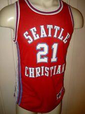 Vtg 80s SEATTLE CHRISTIAN High School Mesh Basketball Jersey tank top Adult 40