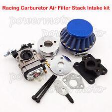 Blue Racing Carburetor Air Filter Stack Kit For 47cc 49cc ATV Dirt Pocket Bike