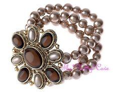 Vintage Deco Soft Bronze Gold Pearl Cuff Big Regency Amber Relief Motif Bracelet