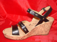 Womens Naturalizer Nerice High Wedge Black Leather Sandals High Heel 9m 9 M