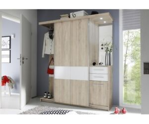 garderobe kompaktgarderobe mit schiebet ren kleiderschrank eiche nb wei ebay. Black Bedroom Furniture Sets. Home Design Ideas
