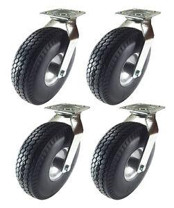 """10"""" x 3-1/2"""" Pneumatic Wheel Caster (Foam-Flat Free) - 4 Swivels"""
