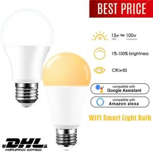LED-Lampe E27 15W WiFi Smart Lamp Bulb Dimmbares Wohnzimmer Schlafzimmer Alexa