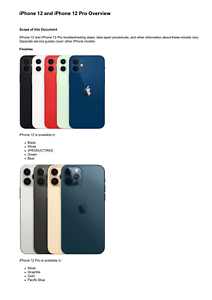Apple iPhone 12 and iPhone 12 Pro Technician Guide Service Manual