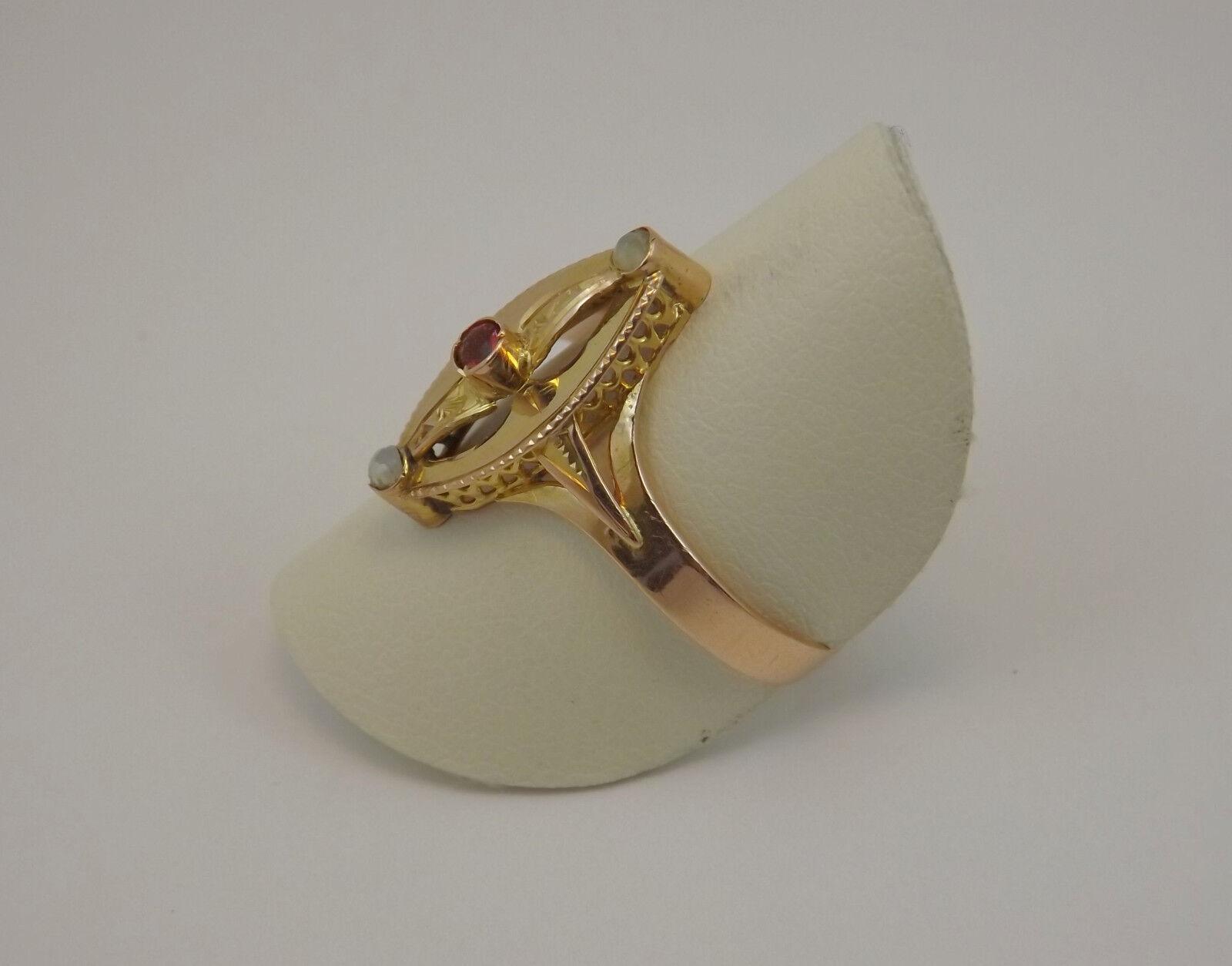 ANELLO EPOCA PRIMO '900 oro oro oro 12 Kt PERLINE E RUBINO OLD RING IN 12 Kt oro 8f66ee