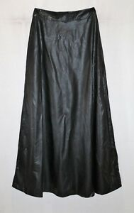BENIN-STYLE-Brand-Black-Faux-Leather-Look-Maxi-Skirt-Size-36-8-BNWT-SS91