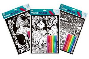 Pack of 3 Velvet Flock Colouring Art Sets Pictures With 8 Felt Tip Pens Flocked